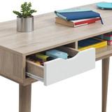 Alford White & Grey 2 Drawer Desk