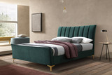 Clover Emerald Green Velvet Bed
