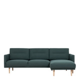 Larvik Dark Green Chaise End Right Hand Sofa with Oak Legs