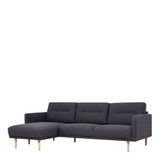 Larvik Charcoal Chaise End Left Hand Sofa with Oak Legs
