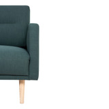 Larvik Dark Green Chaise End Left Hand Sofa with Oak Legs