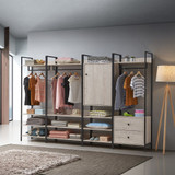 Zahra Open Wardrobe with 2 Drawers in Ash Oak