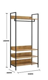 Zahra Large Open Wardrobe with 4 Shelves in Oak