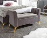 Pettine Grey Velvet Ottoman Storage Bench
