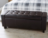 Verona Brown Faux Leather Ottoman Bench