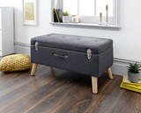 Minstrel Charcoal Grey Fabric Ottoman Storage Bench