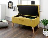 Minstrel Mustard Fabric Ottoman Storage Bench