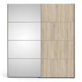 Verona White & Oak Effect Sliding Wardrobe with Mirror Door (180cm)