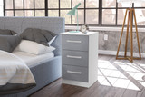 Lynx 3 Drawer Bedside Chest in White & Grey