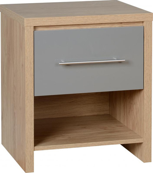 Seville Grey 1 Drawer Bedside Cabinet