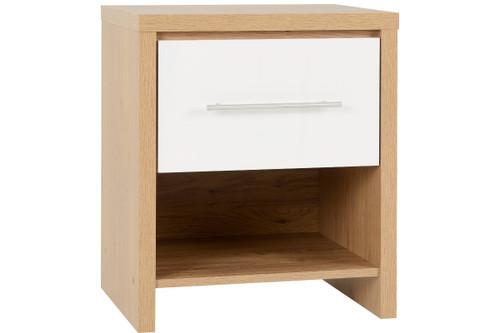 Seville Black 1 Drawer Bedside Cabinet