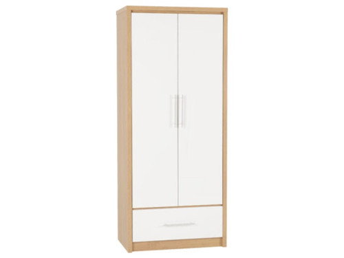 Seville White 2 Door 1 Drawer Wardrobe