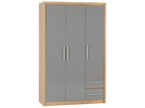 Seville Grey 3 Door 2 Drawer Wardrobe