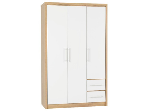 Seville White 3 Door 2 Drawer Wardrobe