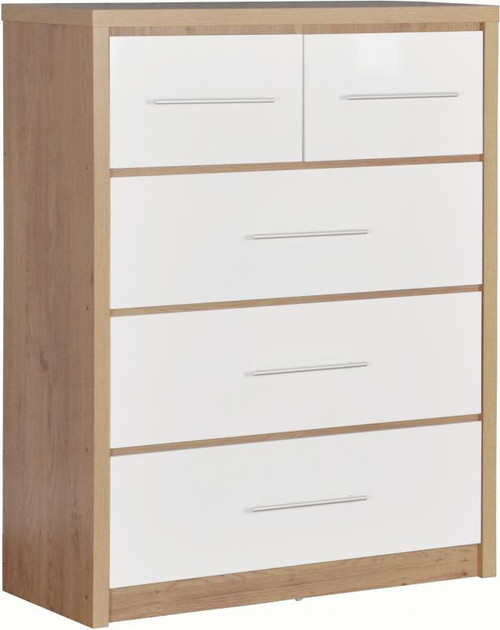 Seville White 3+2 Drawer Chest