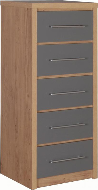 Seville Grey 5 Drawer Narrow Chest