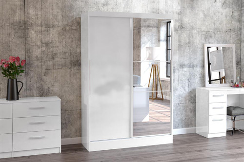 Lynx White 2 Door Sliding Wardrobe with Mirror