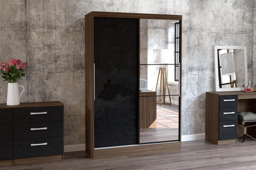 Lynx Black & Walnut 2 Door Sliding Wardrobe with Mirror