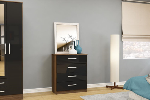 Lynx Walnut & Black 4 Drawer Chest