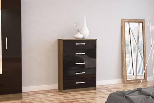 Lynx Walnut & Black 5 Drawer Chest