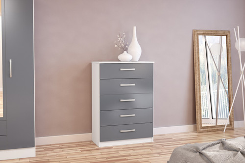 Lynx White & Grey 5 Drawer Chest