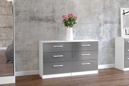 Lynx White & Grey 6 Drawer Chest