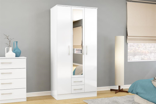 Lynx White 3+2 Wardrobe with Mirror