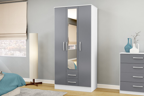 Lynx White & Grey 3+2 Wardrobe with Mirror