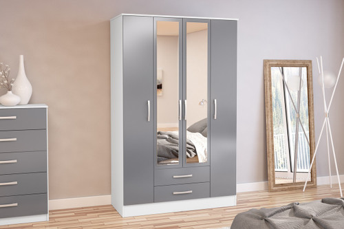 Lynx White & Grey 4+2 Wardrobe with Mirror
