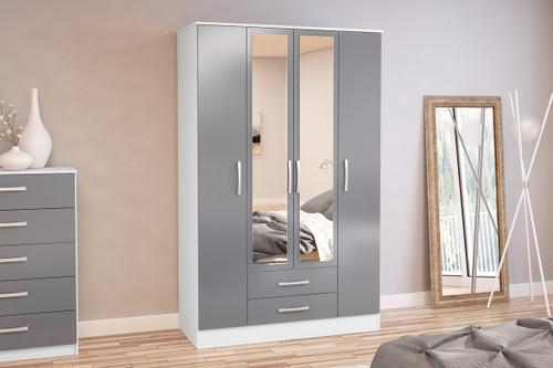 Lynx White & Grey 4+2 Wardrobe with Mirror