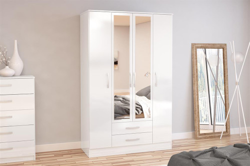 Lynx White 4+2 Wardrobe with Mirror