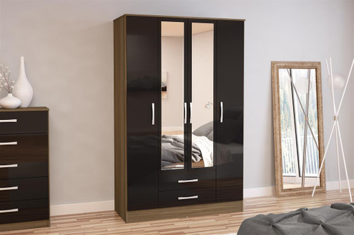Lynx Walnut & Black 4+2 Wardrobe with Mirror