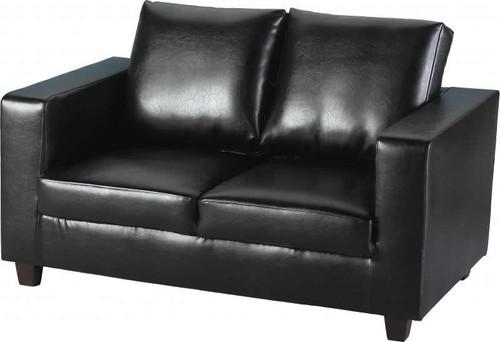 Tempo Black 2 Seater Faux Leather Sofa
