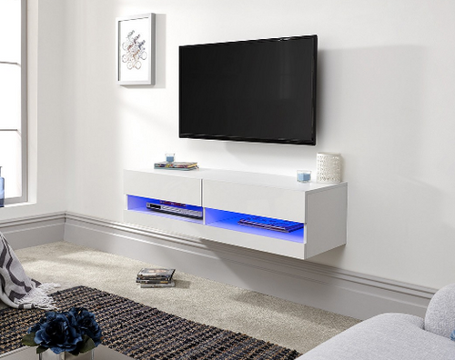 Galicia White Mounted TV Unit 150cm