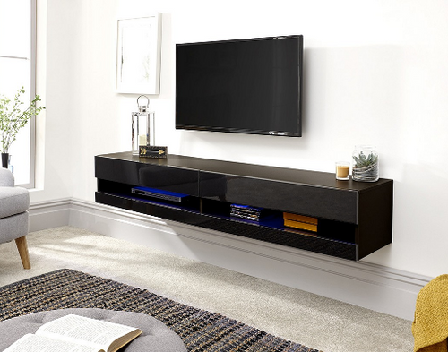 Galicia Black Mounted TV Unit 180cm