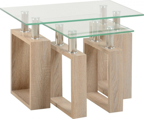 Milan Light Oak Nest of Tables