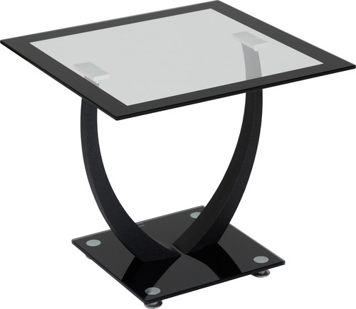 Hanley Black & Clear Glass Lamp Table