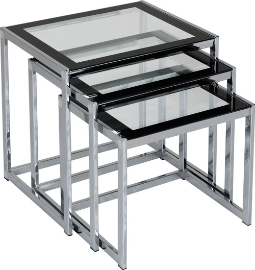 Hanley Black & Clear Glass Nest of Tables