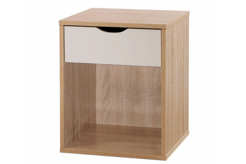 Alton Oak & White 1 Drawer Bedside Chest