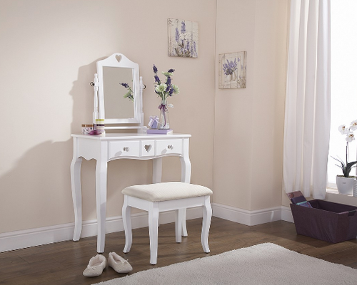 Heart White Dressing Table Set
