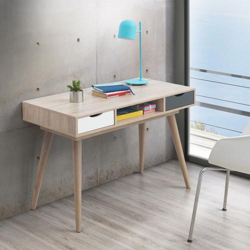 Alford Sonoma Oak, Grey & White 2 Drawer Desk