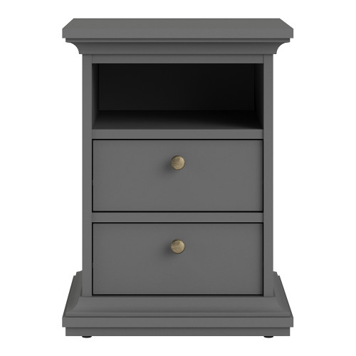 Paris Grey 2 Drawer Bedside Chest