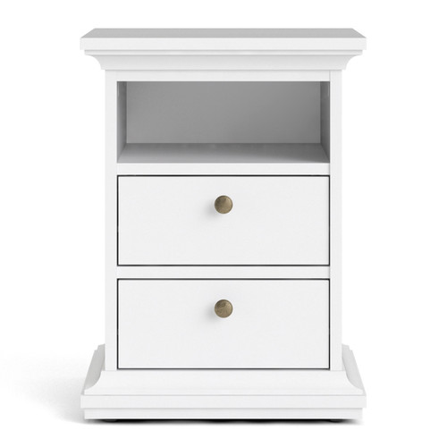 Paris White 2 Drawer Bedside Chest