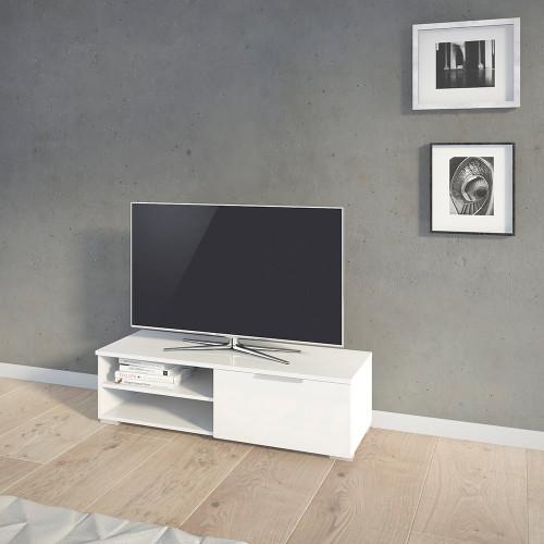 Match White High Gloss 1 Drawer TV Unit