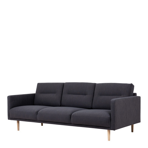 Larvik 3 Charcoal Seater Sofa with Oak Legs