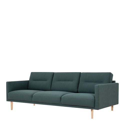Larvik 3 Dark Green Seater Sofa with Oak Legs
