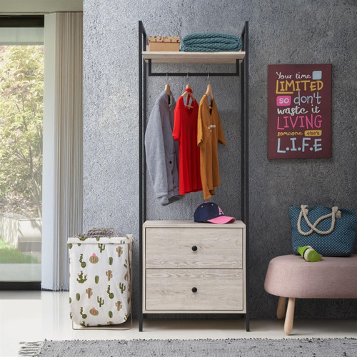 Zahra Open Wardrobe with 2 Drawers in Ash Oak