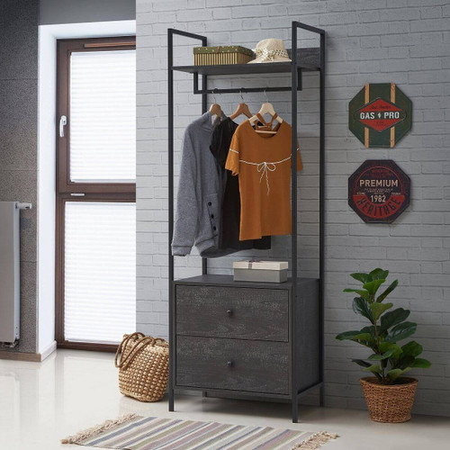 Zahra Open Wardrobe with 2 Drawers in Black