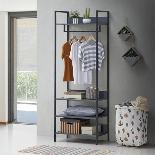 Zahra Small Open Wardrobe with 4 Shelves in Dark Grey