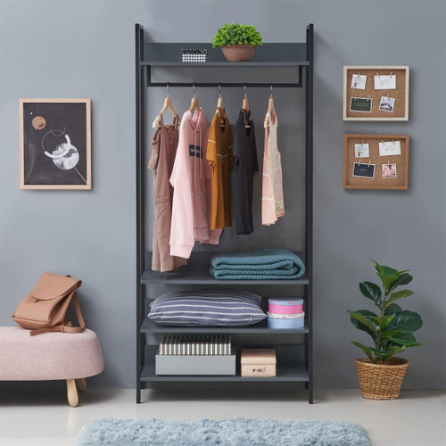 Zahra Large Open Wardrobe with 4 Shelves in Dark Grey